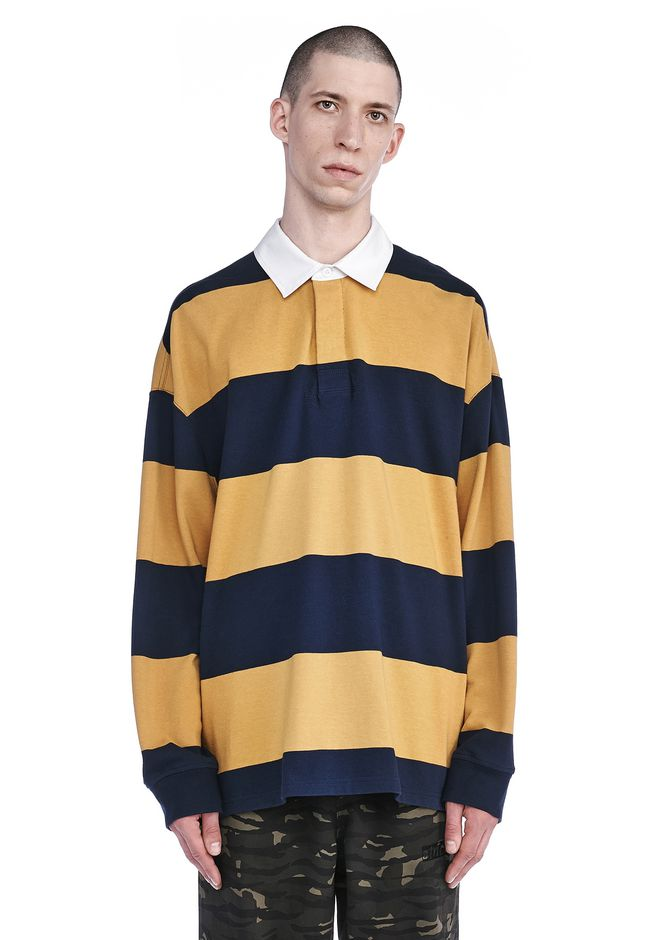 T by ALEXANDER WANG TOPS Men STRIPED LONG SLEEVE COLLARED RUGBY SHIRT