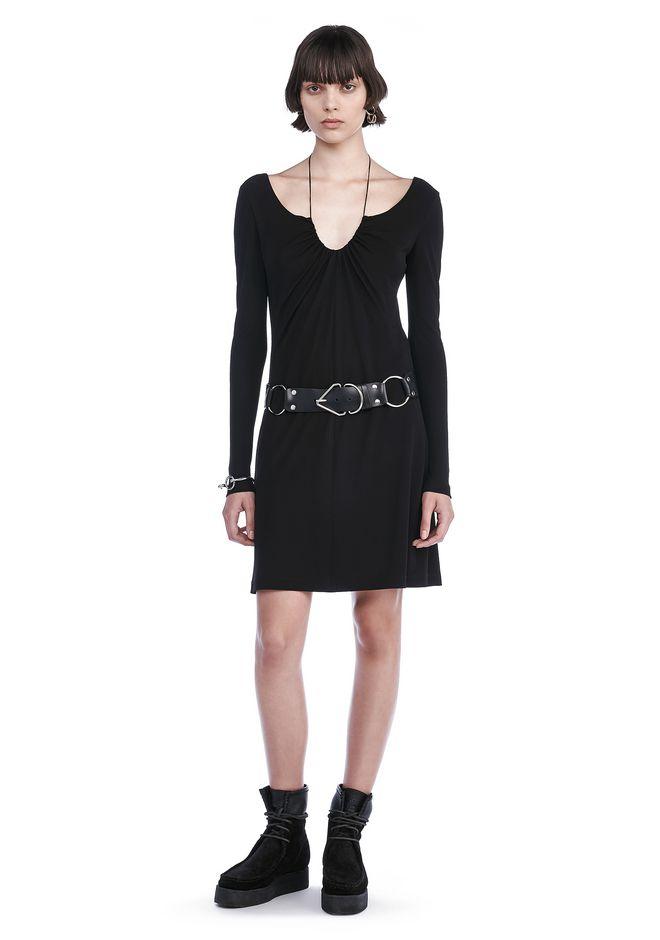 T by ALEXANDER WANG Short Dresses Women MATTE JERSEY GATHERED TIE LONG SLEEVE DRESS