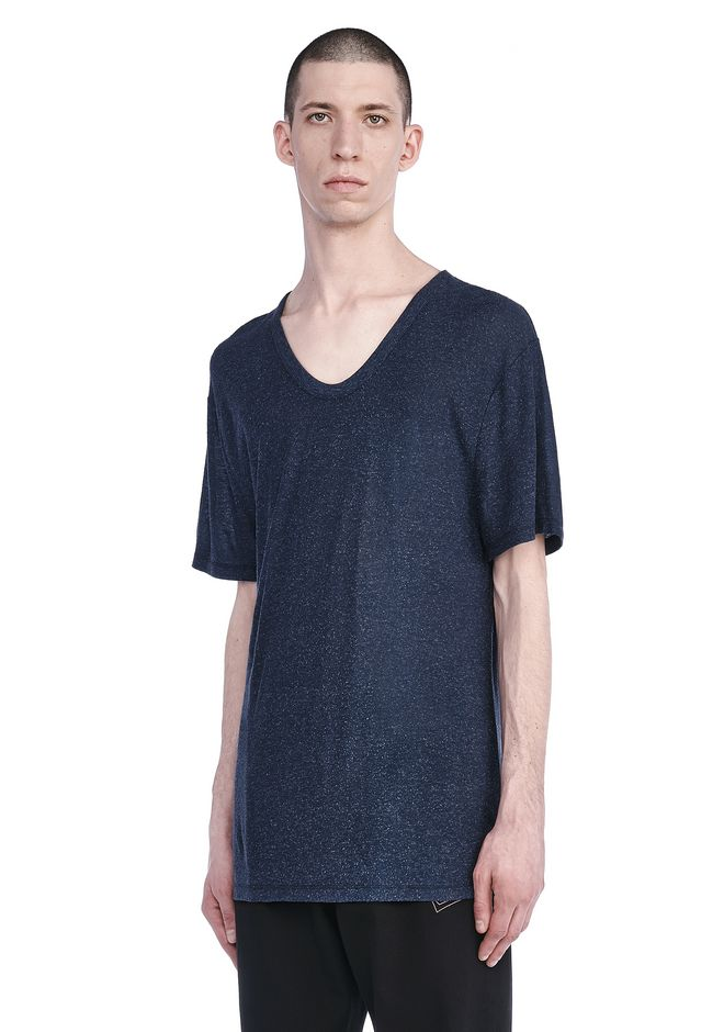T by ALEXANDER WANG TOPS Men SLUB RAYON SILK LOW NECK TEE