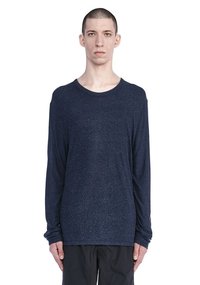 T by ALEXANDER WANG TOPS Men SLUB RAYON SILK LONG SLEEVE TEE