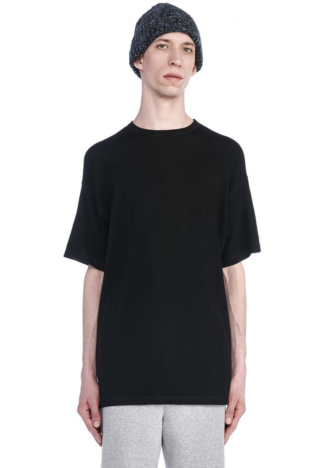 T by ALEXANDER WANG TOPS Men MERINO WOOL SHORT SLEEVE SWEATER