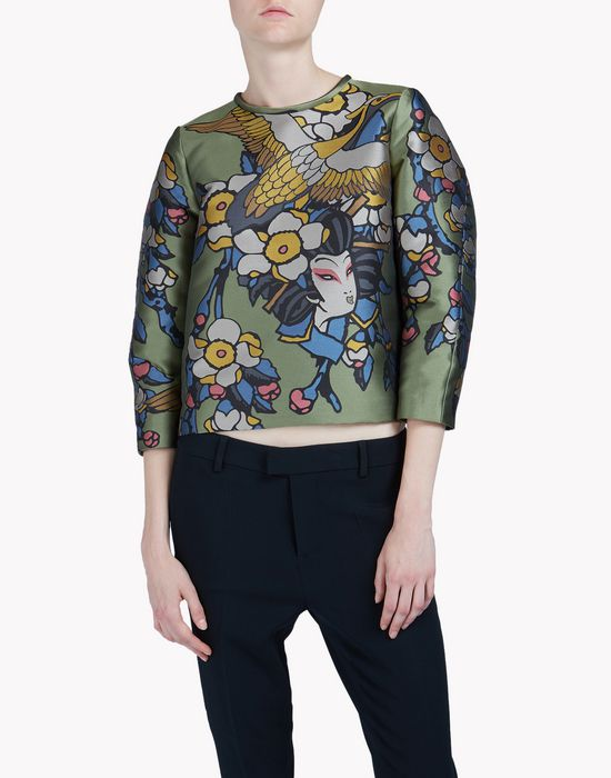 cherry blossom jacquard top tops & tees Woman Dsquared2