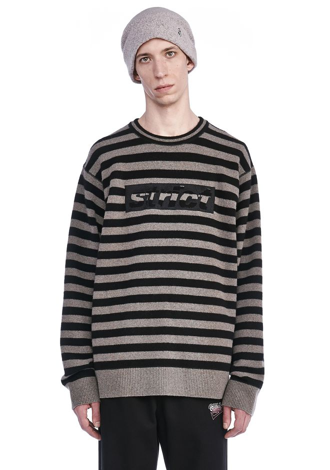 ALEXANDER WANG new-arrivals STRIPED PULLOVER WITH STRICT EMBROIDEREY