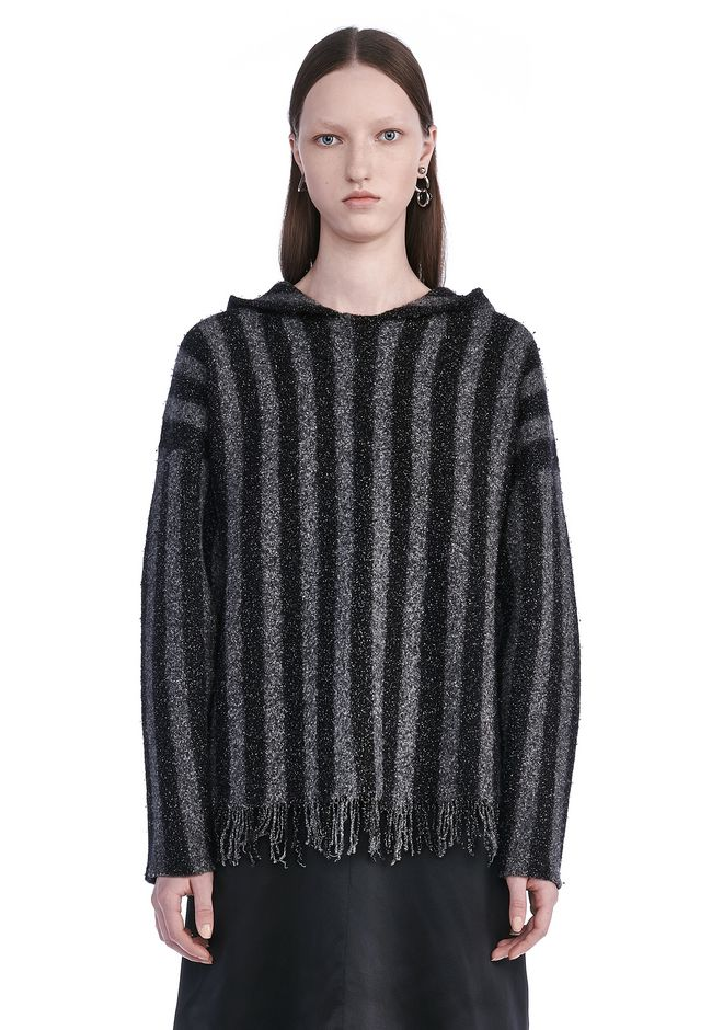 T by ALEXANDER WANG TOPS BOILED MERINO STRIPED HOODIE WITH FRINGE HEM