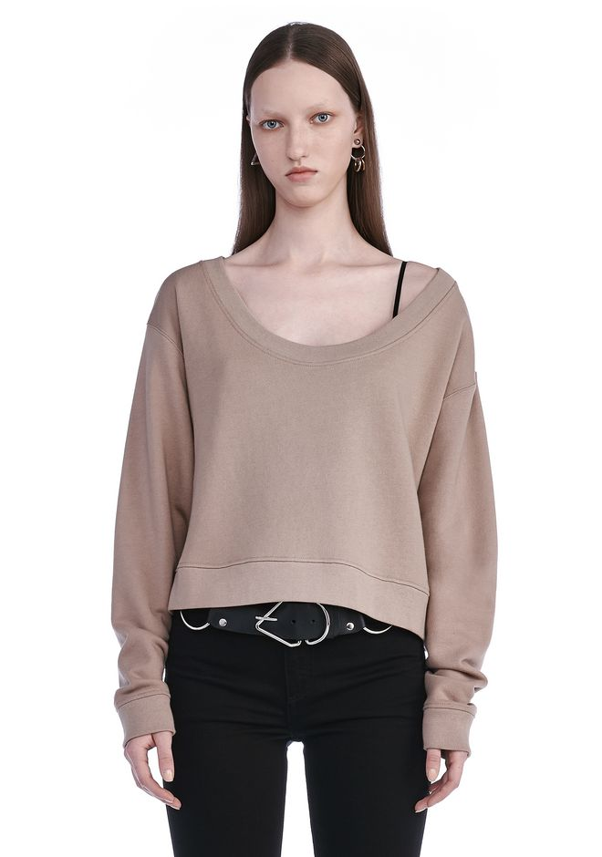 T by ALEXANDER WANG TOPS SOFT FRENCH TERRY CROPPED SWEATSHIRT