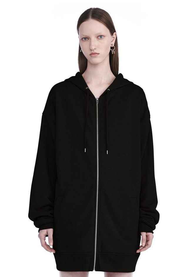 T by ALEXANDER WANG TOPS SOFT FRENCH TERRY LONG HOODIE