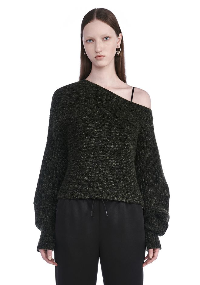 T by ALEXANDER WANG TOPS CHUNKY MOHAIR ASYMMETRICAL SWEATER