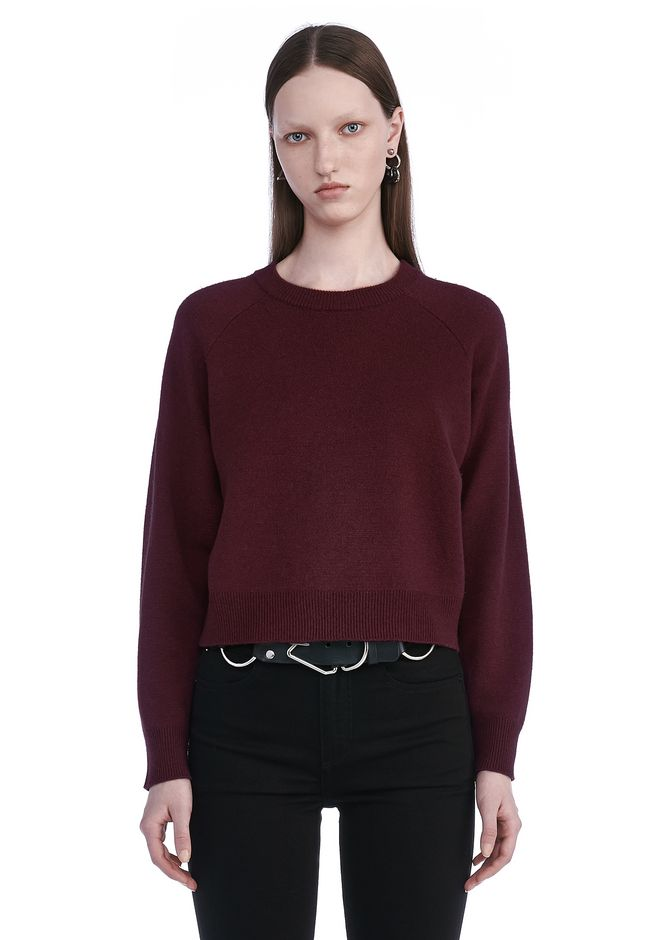 T by ALEXANDER WANG TOPS CASHWOOL CROPPED SWEATER