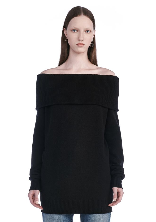 T by ALEXANDER WANG TOPS CASHWOOL KNIT OFF THE SHOULDER PULLOVER