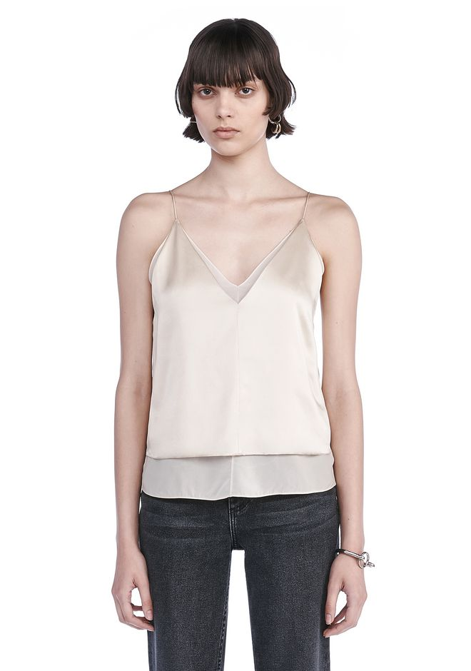 T by ALEXANDER WANG TOPS CHARMEUSE CAMISOLE WITH CHIFFON COMBO