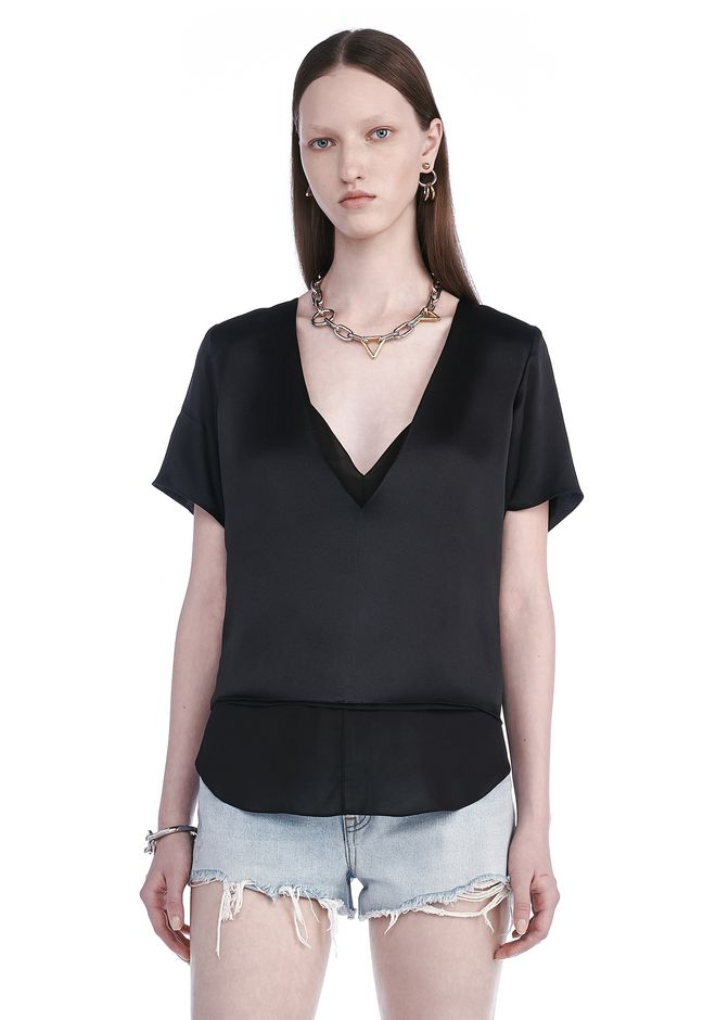 T by ALEXANDER WANG TOPS CHARMEUSE SHORT SLEEVE TOP WITH CHIFFON COMBO