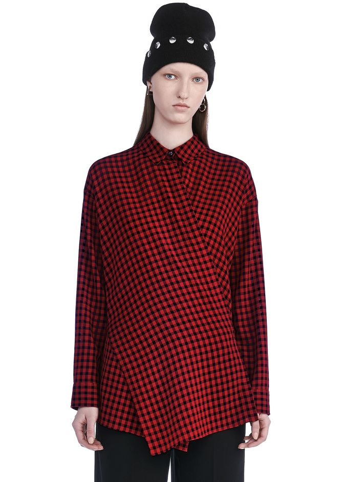 T by ALEXANDER WANG TOPS CHECKERED ASYMMETRICAL LONG SLEEVE WRAP BLOUSE