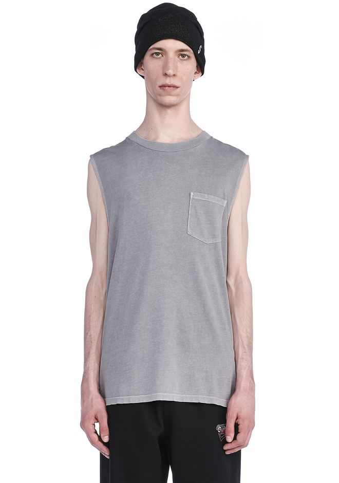 T by ALEXANDER WANG TOPS Men SUN FADED MUSCLE TEE WITH POCKET