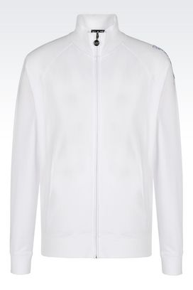 Armani Zip sweatshirts Men visibility line full zip cotton sweatshirt