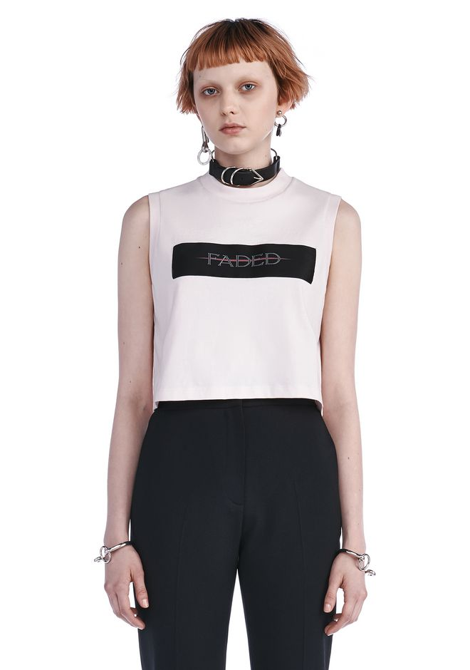 ALEXANDER WANG new-arrivals CREWNECK CROP TOP WITH PATCH