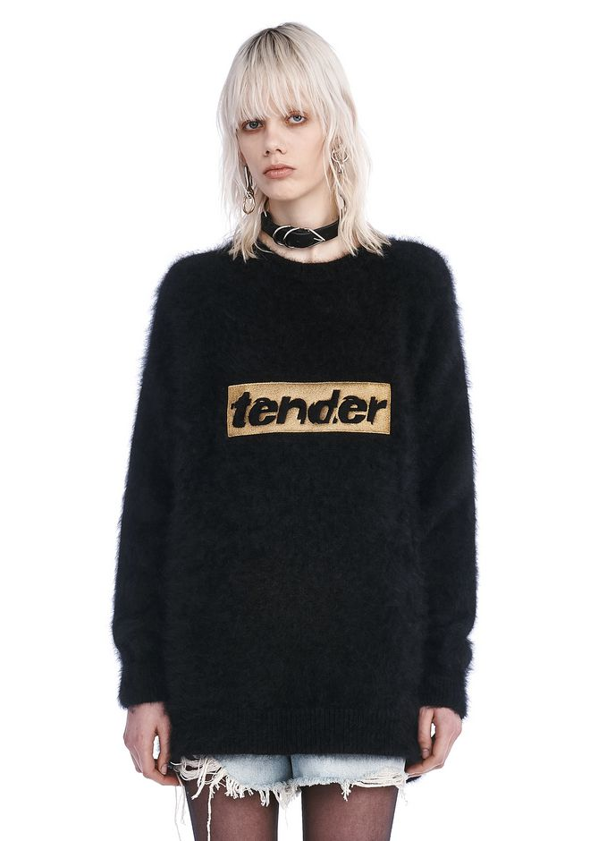 ALEXANDER WANG TOPS Women SWEATSHIRT DRESS WITH STRICT EMBROIDERY