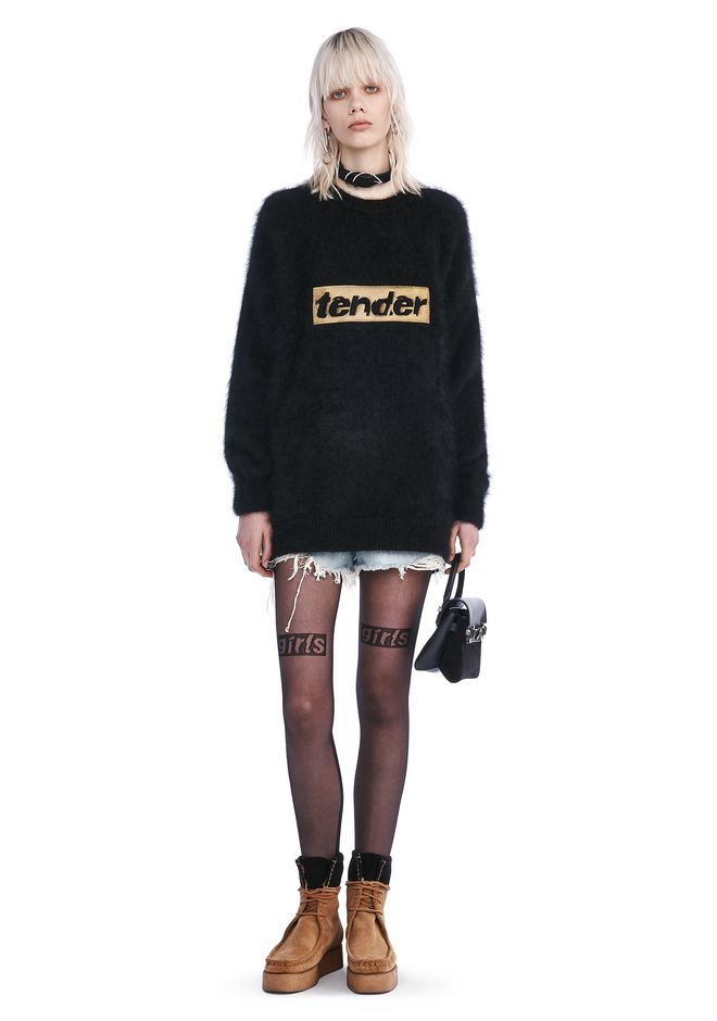 ALEXANDER WANG TOPS SWEATSHIRT DRESS WITH STRICT EMBROIDERY