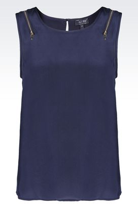 Armani Sleeveless tops Women top in crêpe de chine