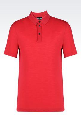 Armani T-shirts Uomo t-shirt polo in jersey di pura lana