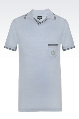 Armani T-shirts Men pure wool jersey polo t-shirt