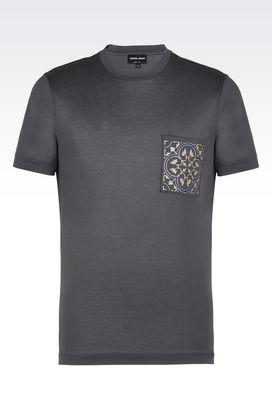 Armani T-shirts Uomo t-shirt girocollo in puro cotone con taschino