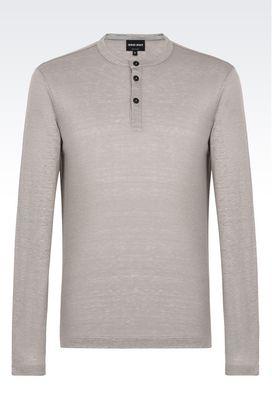 Armani T-shirts Uomo serafino in puro lino