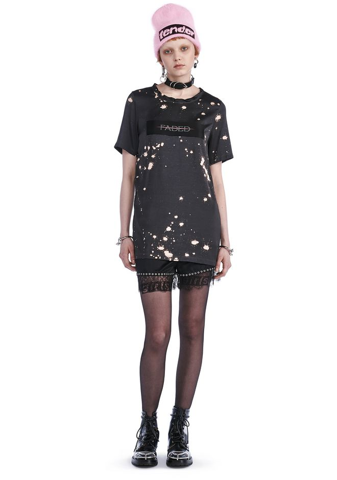 ALEXANDER WANG TOPS SPLATTER PRINT T-SHIRT WITH PADED PATCH