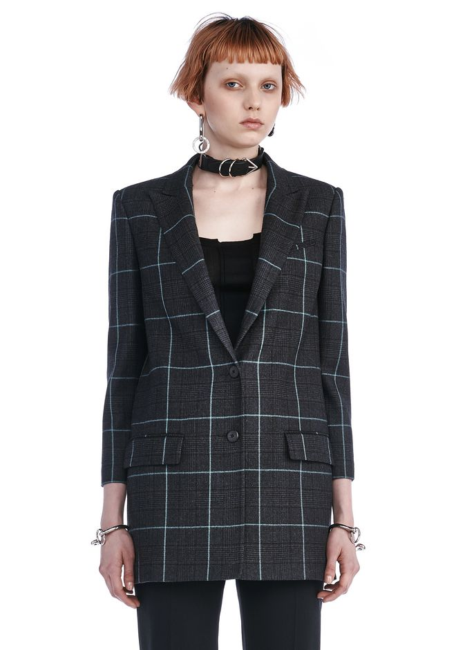 ALEXANDER WANG BLAZERS Women SINGLE BREASTED PLAID BLAZER WITH PEAKED LAPEL