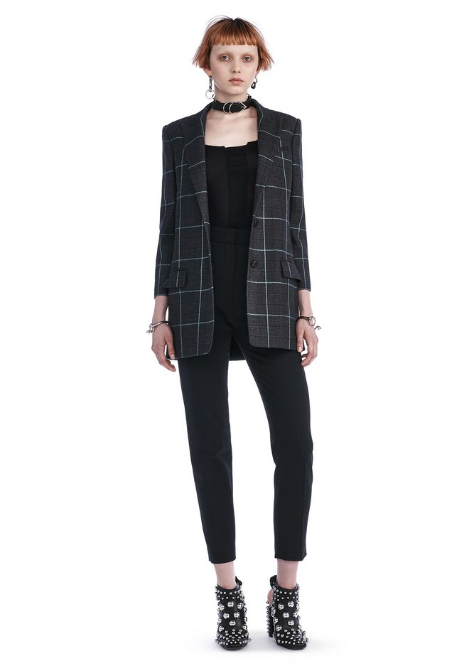 ALEXANDER WANG BLAZERS SINGLE BREASTED PLAID BLAZER WITH PEAKED LAPEL