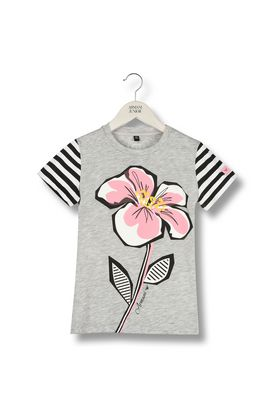 Armani Short-sleeve t-shirts Women flower print jersey t-shirt with striped sleeves