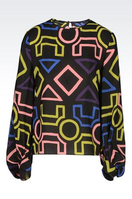 Armani Printed tops Women runway blouse in silk