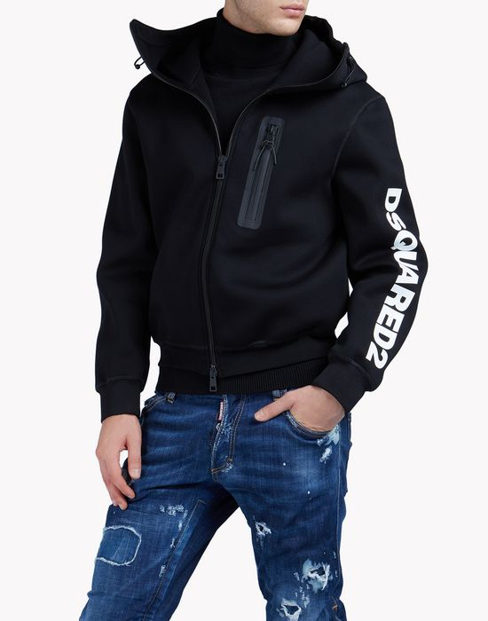 zipped hooded sweat jacket tops & tees Man Dsquared2