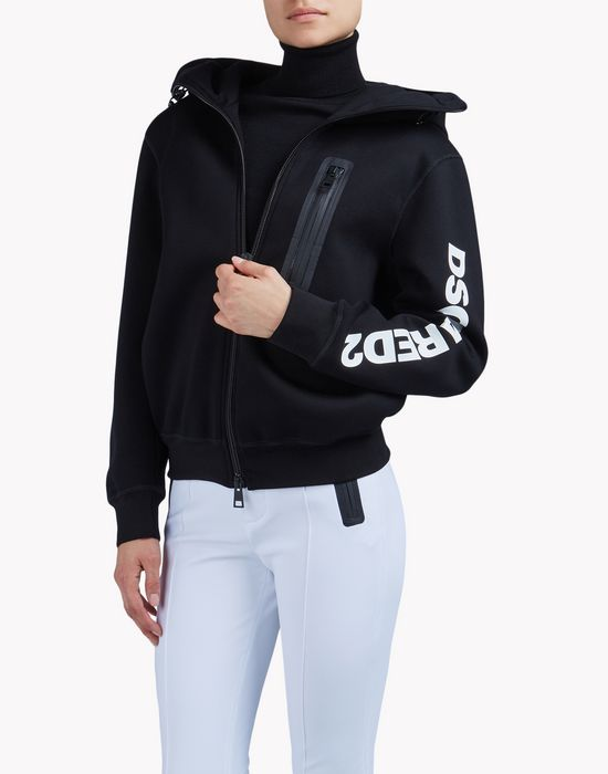 zipped hooded sweat jacket top wear Woman Dsquared2