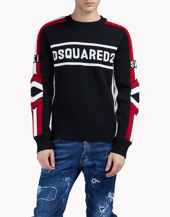d2 ski intarsia wool knit sweater tops & tees Man Dsquared2