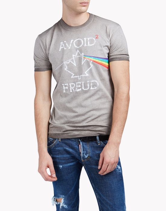printed cotton-jersey t-shirt top wear Man Dsquared2