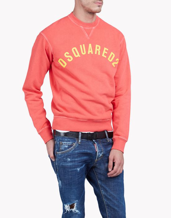 printed cotton fleece sweatshirt tops & tees Man Dsquared2