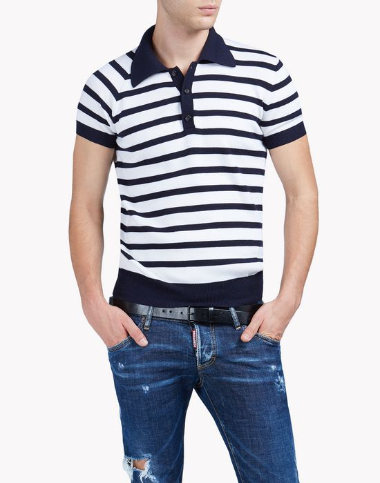 striped wool polo shirt tops Homme Dsquared2