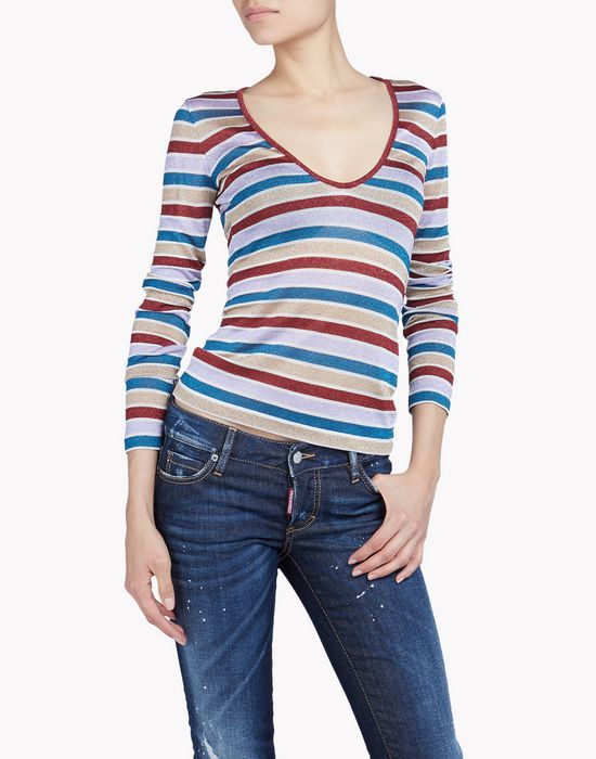 striped lurex long sleeve tops & tees Woman Dsquared2