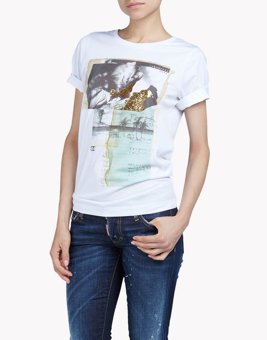 printed cotton-jersey t-shirt tops & tees Woman Dsquared2