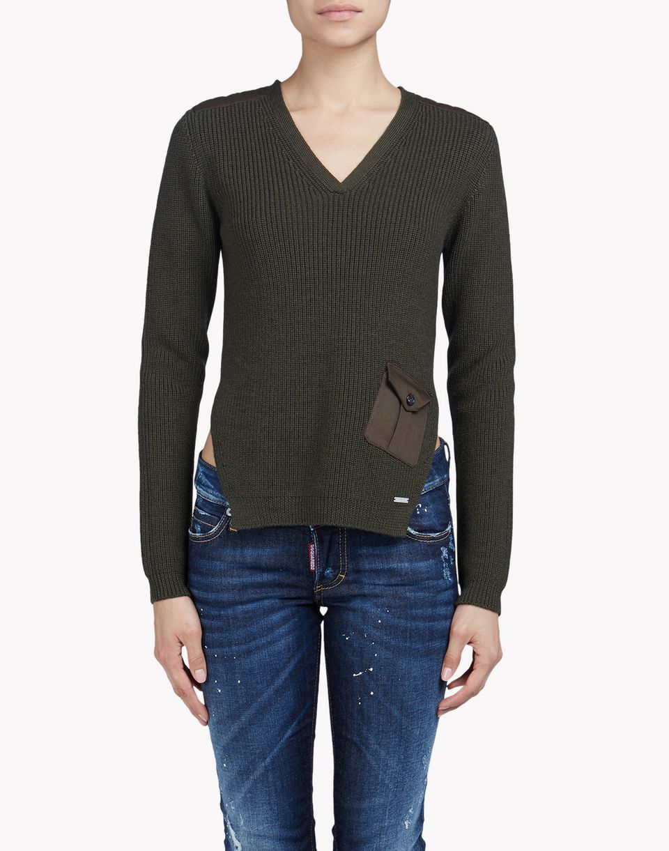 v-neck wool sweater tops & tees Woman Dsquared2