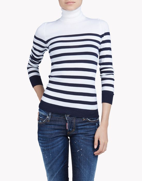striped wool turtleneck camisetas y tops Mujer Dsquared2
