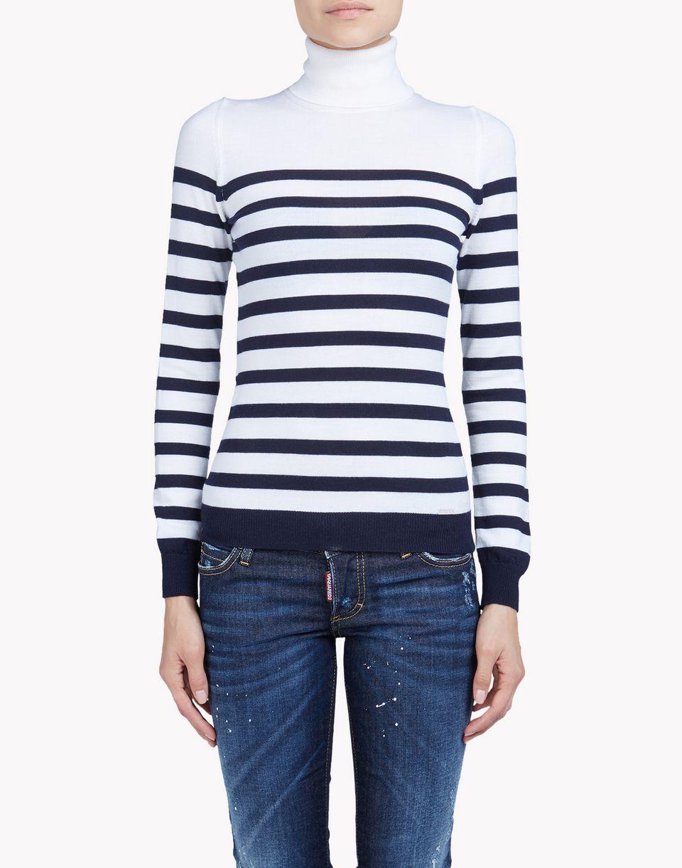 striped wool turtleneck top wear Woman Dsquared2