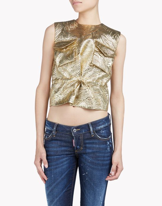 military lurex top camisetas y tops Mujer Dsquared2