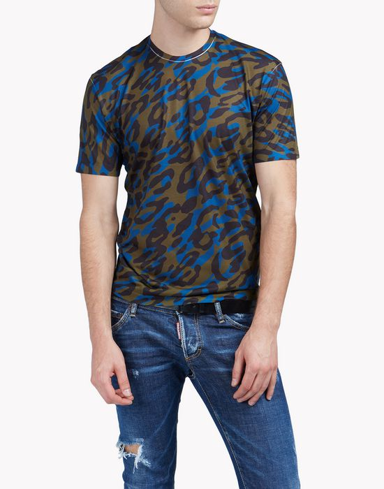 camouflage print t-shirt tops & tees Man Dsquared2