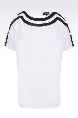 Armani Top a maniche corte Donna t-shirt in jersey con dettagli in gros grain
