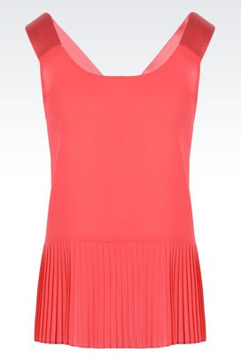 Armani Top senza maniche Donna top in georgette con incrocio e plissé