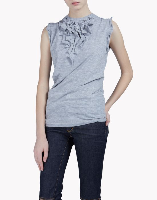 ruffled cotton tank top top wear Woman Dsquared2