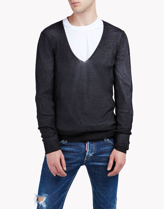 sheer v-neck sweater tops Homme Dsquared2