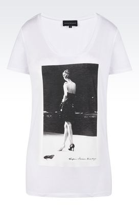 Armani Short-sleeve t-shirts Women cotton t-shirt with wide crew neck