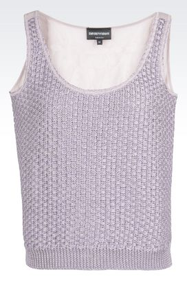 Armani Top senza maniche Donna top in misto lino